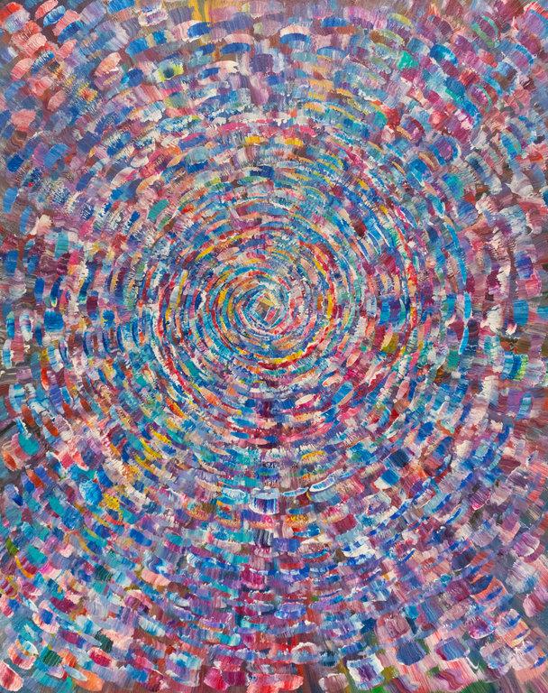 "Nicole Jenny, Spiral, 2018, acrylic on canvas, 24"" x 30″"
