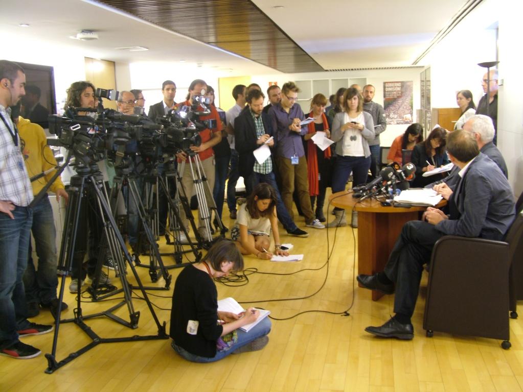En una rueda de prensa en el Congreso de los Diputados.