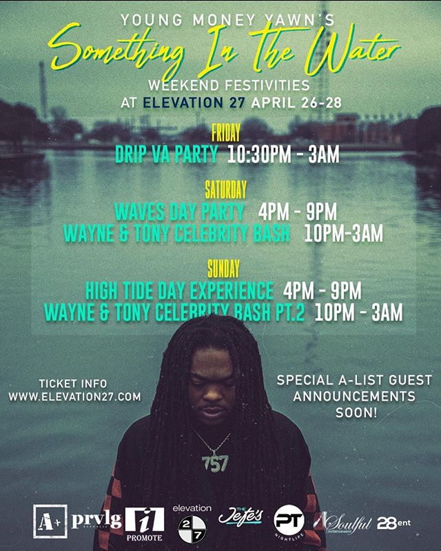 The Most Extravagant Social Events During 🌊 Something In The Water Weekend 🌊 Will Be All Be @elevation27vb April 26 - 28, We Will Be Announcing All Our Celebrity Guest Friends In Days To Come 🍾✈️💰🔥 For Tickets & Tables www.Elevation27.com  For More Info @timcosten ( Saturday/Sunday Is Not On Site Yet )