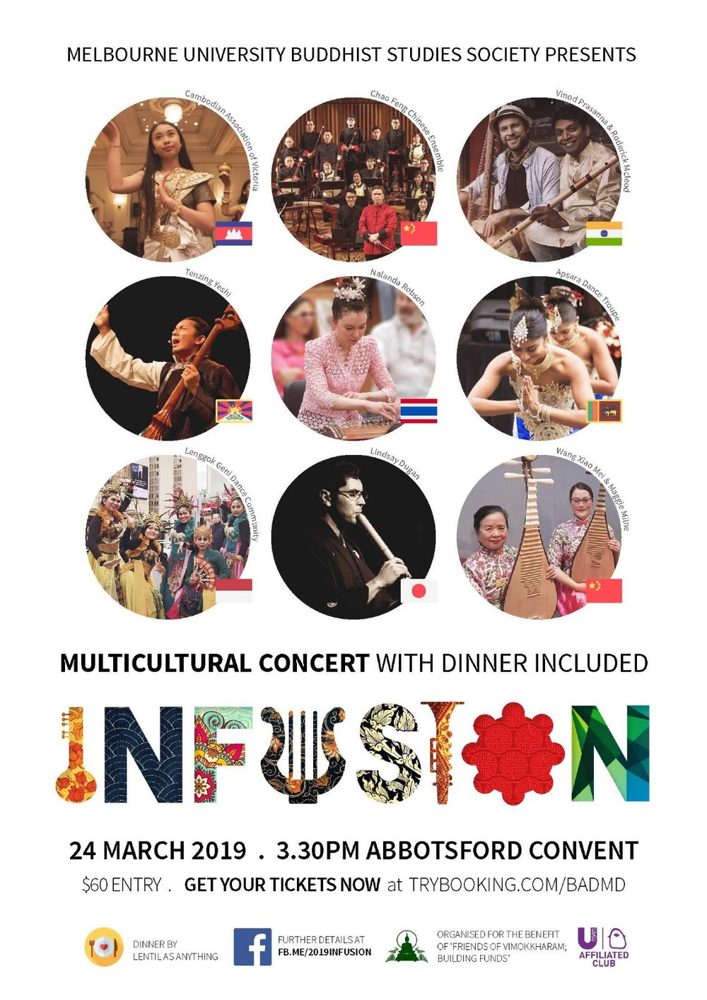 Infusion is an inaugural musical program organised by Melbourne University Buddhist Studies Society in partnership with Friends of Vimokkharam Forest Hermitage. Infusion 2019 is a culmination of contemporary and traditional music of Asia, drawing upon instruments and ideas in collaboration to create music that reflects our 21st century global society.   This concert raises funds to support the rebuilding of the Vimokkharam Forest Hermitage in Kallista, which burnt down in 2014.