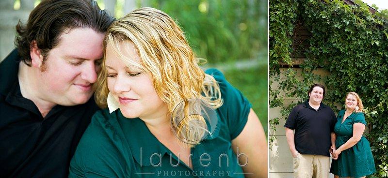 Uptown couple backyard engagement portrait