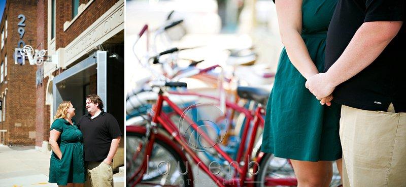 Uptown bikes and FIVE Event Center Couple's engagement portrait