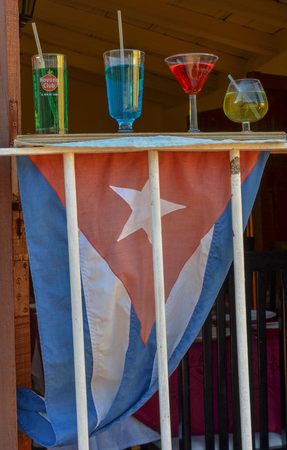 Havana Club Drinks & Cuban Flag - Trinidad Cuba