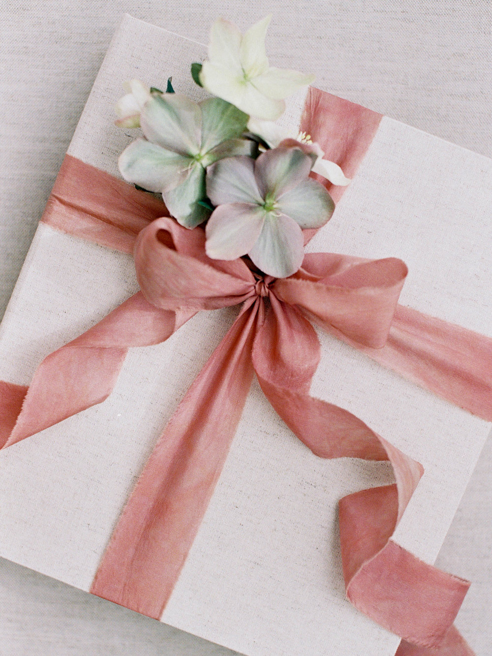 Album and Clamshell Case with Frou Frou Chic Ribbon and Hellebores