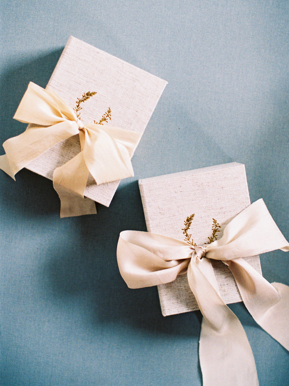 Linen Print Boxes tied with Silk + Willow Ribbons