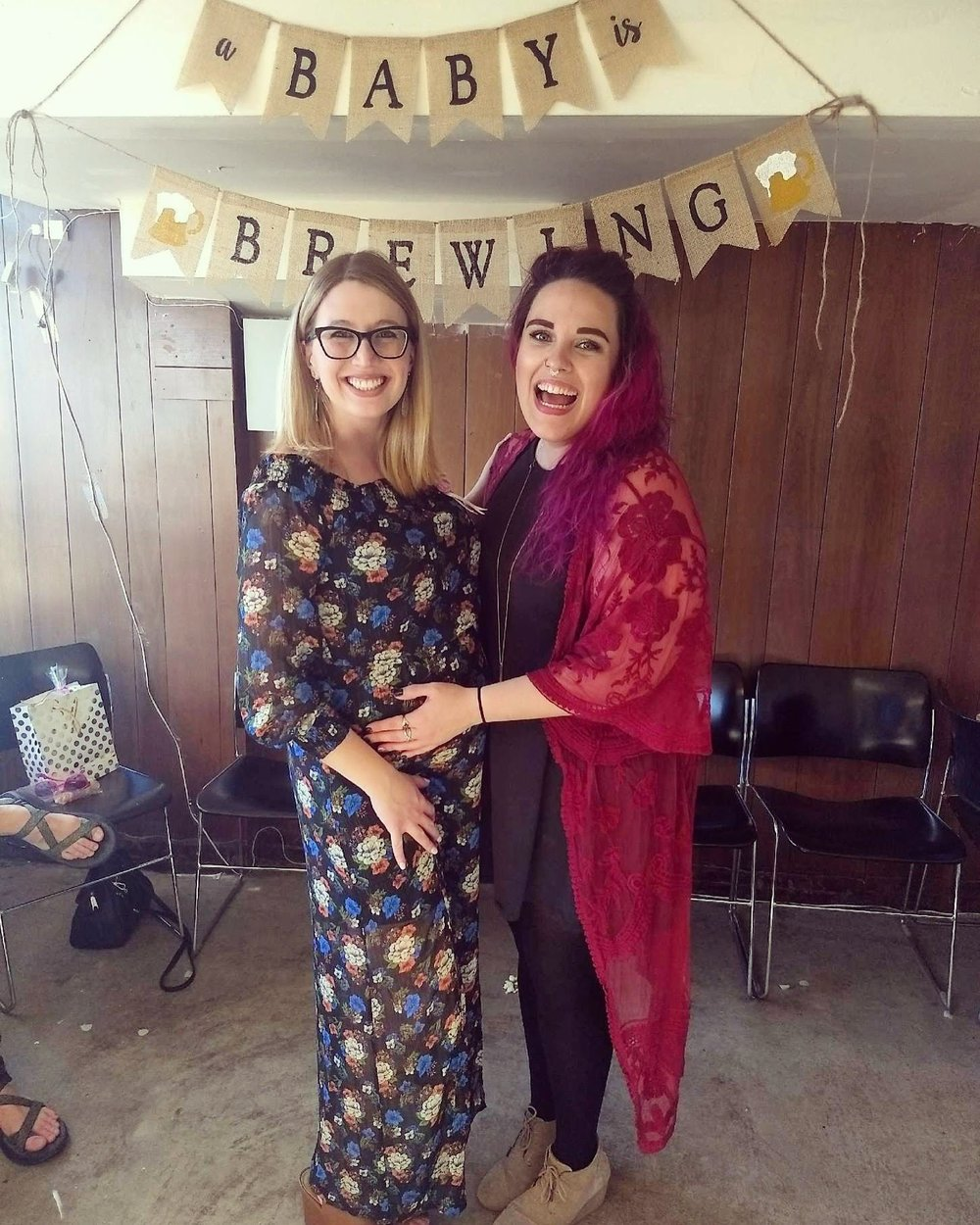Nicole (left) and Ashley (right) at Nicole's baby shower.