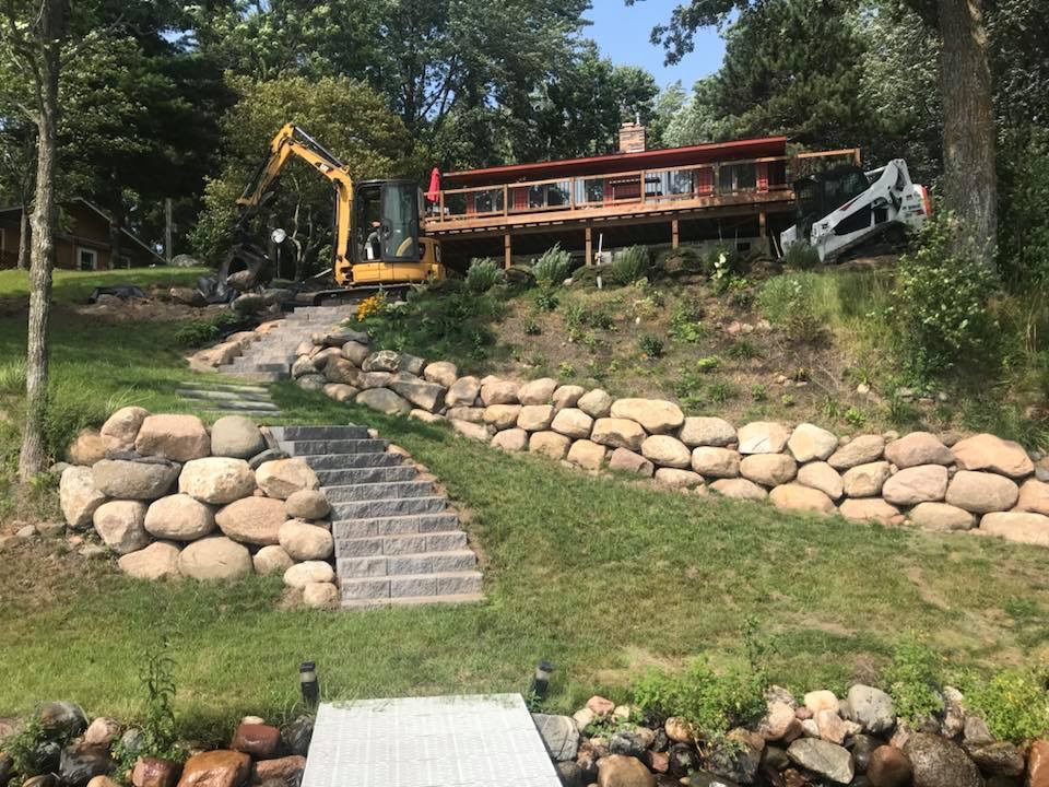 Boulder Retaining Walls by Ryan Tree and Landscape Service