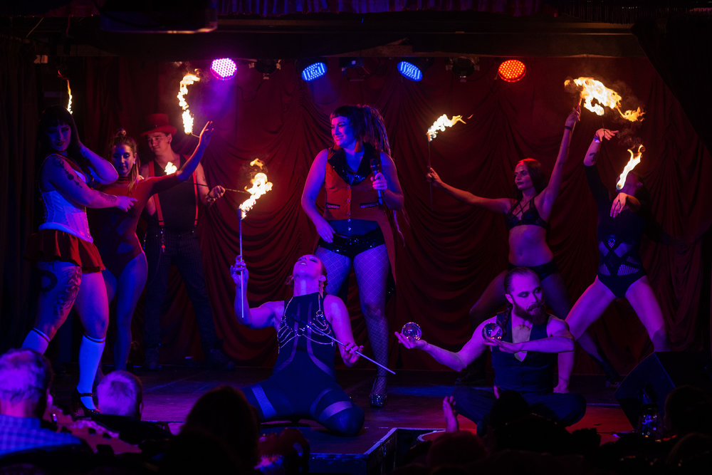 Babes Ablaze - A night of strutting their stuff … with flames!Photo of Sophie deLightful and Cast : Kris Ezergailis