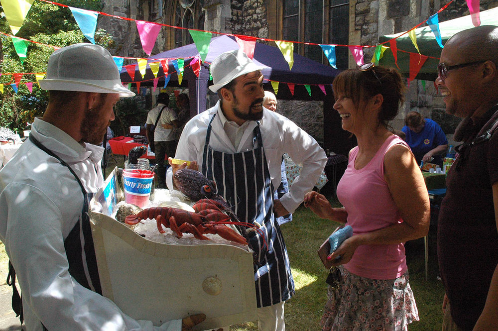 A world picnic for the whole community included live music and livelier seafood puppets in Christ Church garden.