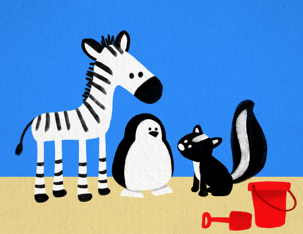 """Character and background designer for """"Zebra, Penguin, Skunk: Beach"""" for Sesame Studios with FableVision Studios"""