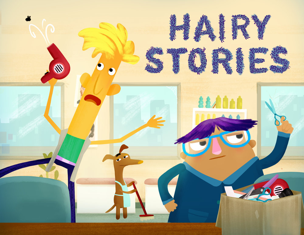 """Art Director, visual development and character design for """"Hairy Stories"""" shorts for Toca TV with 100 Chickens Productions"""