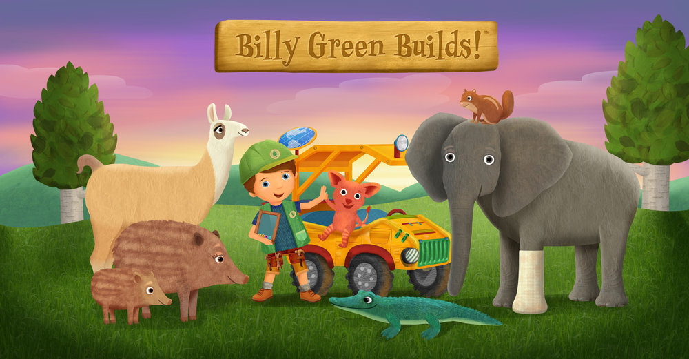 """Art Director, visual development, character, prop and background design for """"Billy Green Builds!"""" pitch bible and trailer for SeaWorld with Little Airplane Productions"""