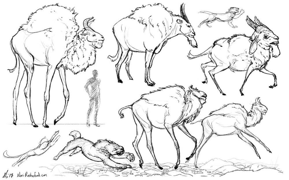 Exploring antelope-like creature designs (2017)