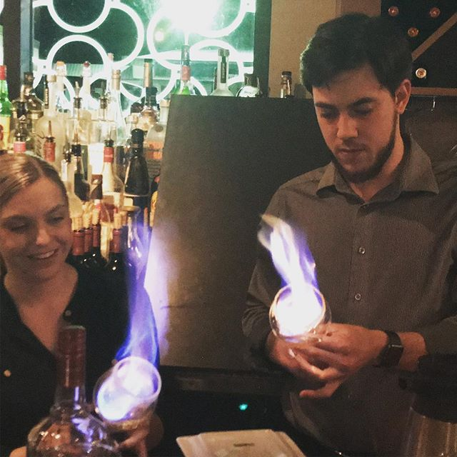 Sometimes, we get to light things on fire!  Pictured is the beginning of a Spanish coffee, one of many delicious after dinner drinks our talented bar staff offers.  #seattlerestaurants #coffeecocktail #bar #happyhour