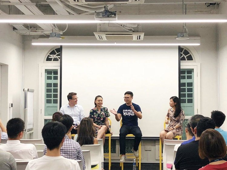 Pictured from left: Benjamin Koellmann, Joelle Pang, Bryan Long and Audrey Low