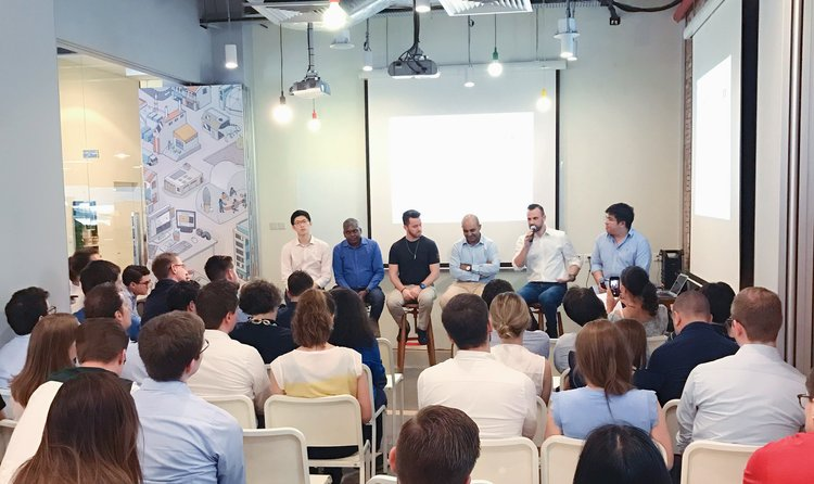 Jeremy hosting a panel discussion at Found. 's monthly community event (Picture Credits: Found. )