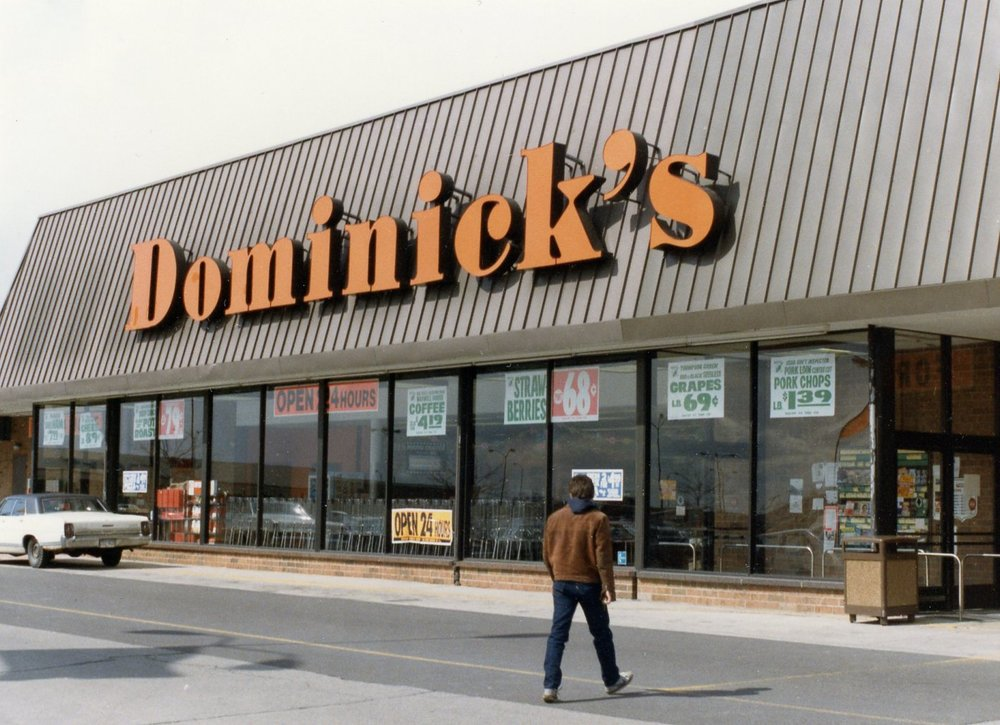 """1990's - In the 1990's Dominick's introduced the """"Fresh Store"""" concept with prepared foods, in store restaurants, Starbucks cafes and a general European Market feel concept. The family sold the business in the late 1990's after the death of Dominick Jr."""