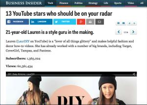 Lauren Riihimaki (LaurDIY) in Business Insider