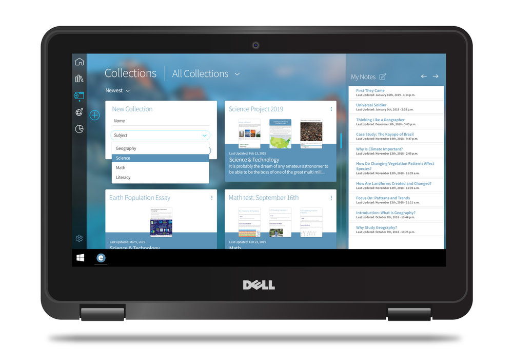 Edwin Collections screen on a floating Dell device