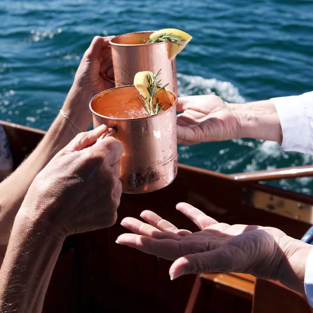 Riverside Rosemary Mule - 2 oz VODKA2 oz Grapefruit Juice0.5 oz Fresh Lime Juice3 oz Ginger Beer1 Sprig Fresh RosemarySliced Grapefruit OptionalFill Copper Mule with ice, Stir in ingredients. Garnish with Rosemary and Grapefruit.
