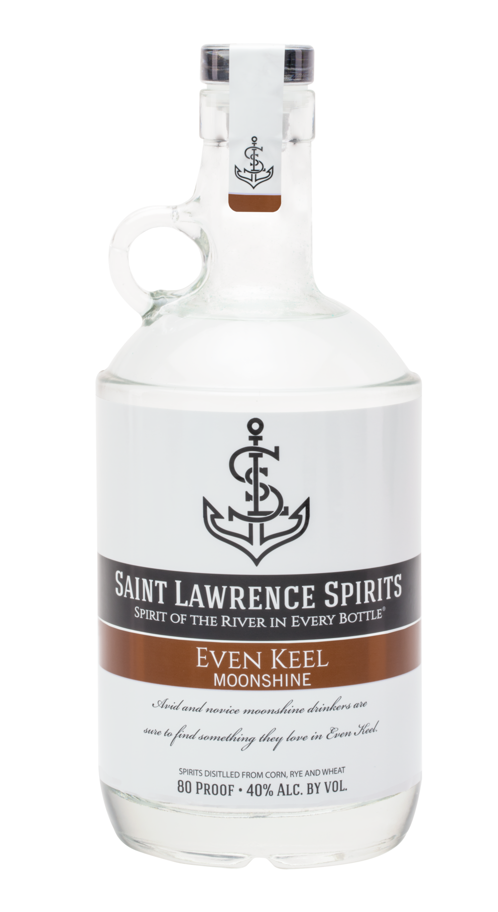 Even Keel Moonshine - 80 Proof. Wheat, Rye, Peppery