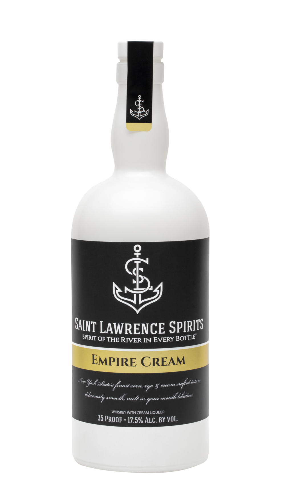 Empire Cream - 35 Proof. Hazelnut, Nutmeg, Silky Vanilla. Made with Saint Lawrence Spirits Ryesing Tide Whiskey and Cream from Batavia, NY.