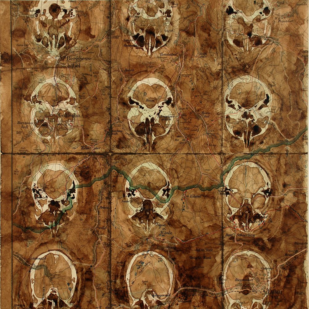 """Brain Map , Map and Walnut Ink, 14"""" x 14"""" 2008"""