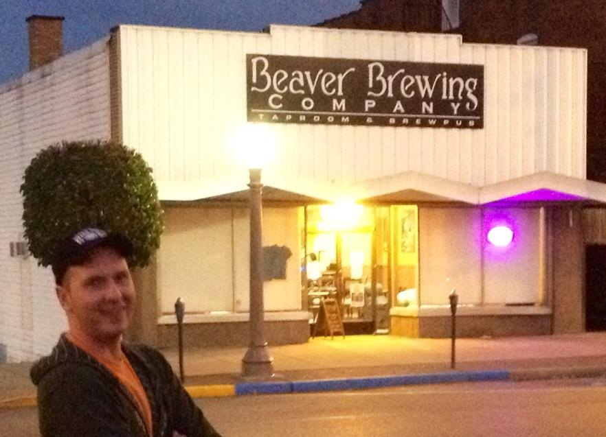 Image of Beaver Brewing Company and some douche hanging out across the street