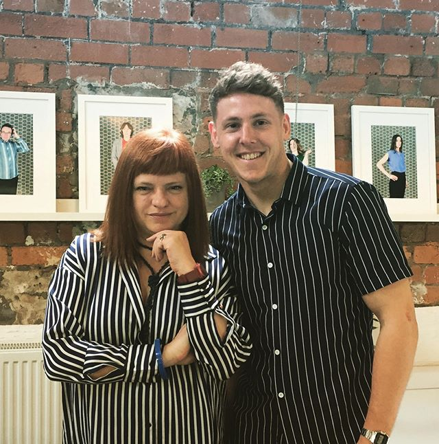 When Marketing and PR are on the same page... It's nice to have @caroline_r_collett in the office today! We both picked up the striped memo. #creative #agency #collectivecreativity #PR #marketing