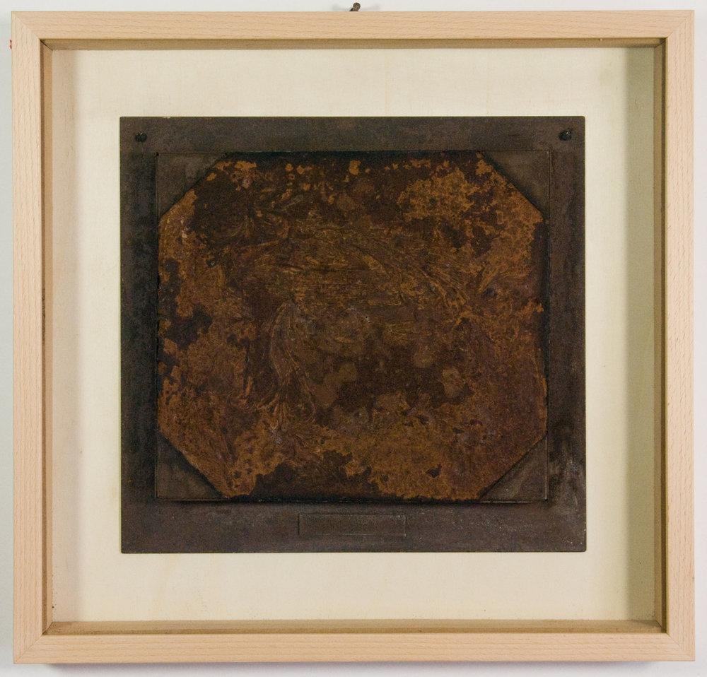 Dieter Roth,  Am Rhein , chocolate cast into iron frame, 33x35x3cm, 1968