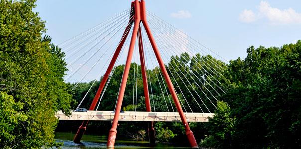The Robert Stewart Bridge welcomes visitors to Columbus, Indiana.