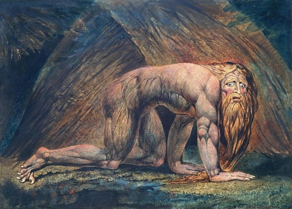 """Nebuchadnezzar (1795) by William Blake (1757-1827)  God humbled the King of Babylon for his pride, making him like a beast of the field. When his chastisement was done, the King blessed the Lord, for """"those who walk in pride He is able to humble."""" (Daniel 4:4-37)"""