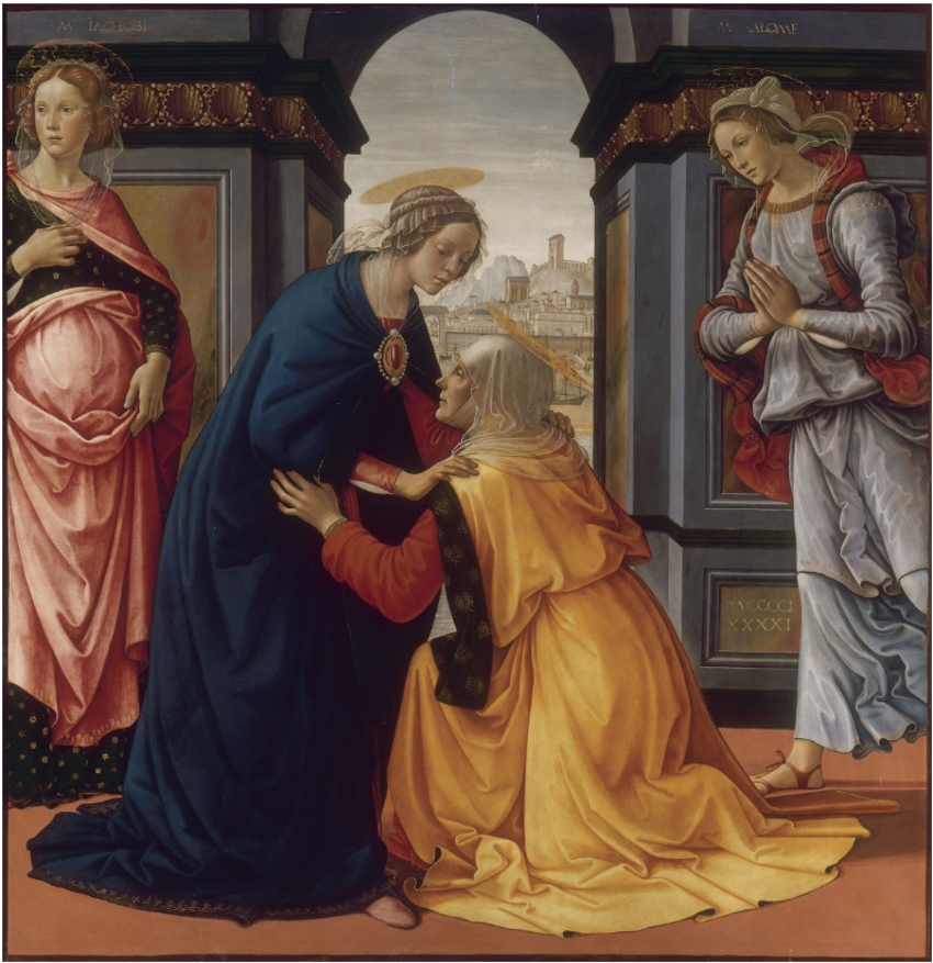 """""""Visitation"""" by Domenico Ghirlandaio (1491). Both Mary and Elizabeth answered the Lord's call to believe what was seemingly unbelievable."""