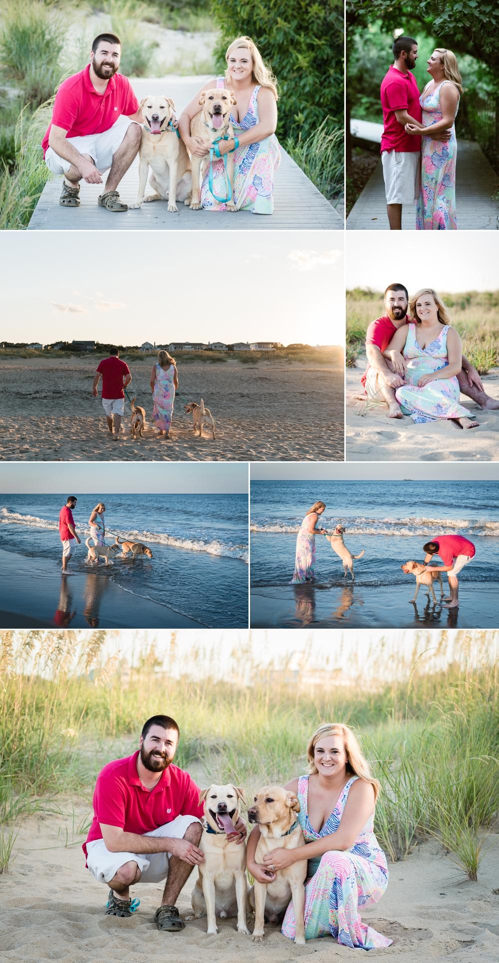 弗吉尼亚海滩情侣肖像,宠物照片