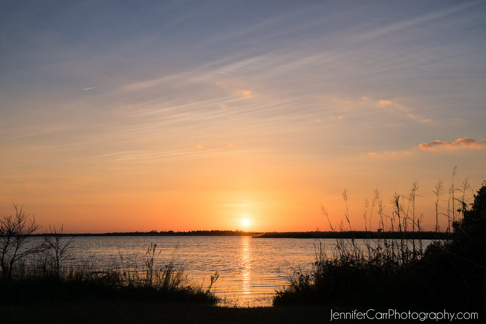 orange sunset back bay national wildlife refuge virginia beach photography