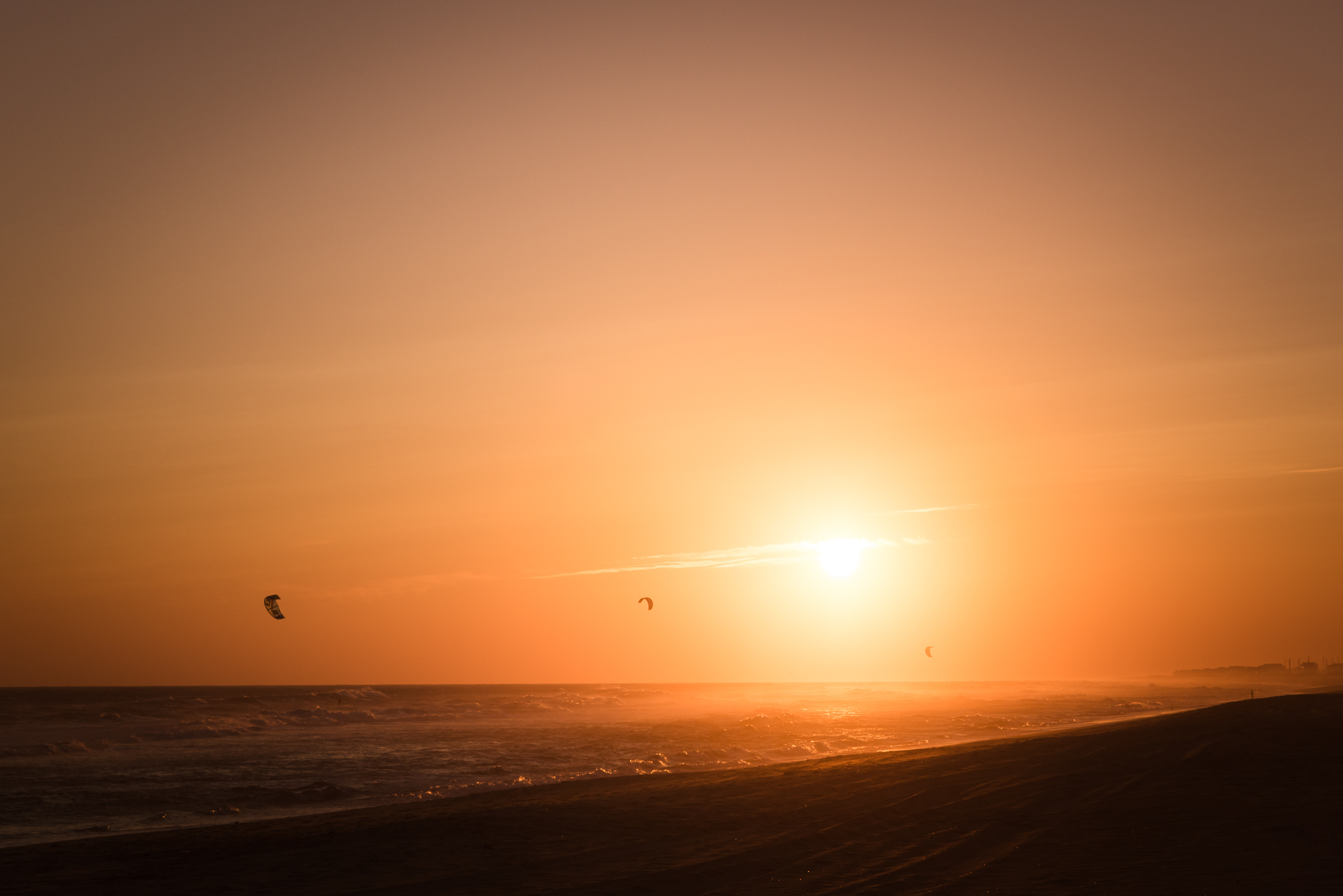 sunset, kitesurf, kiteboard, frisco, hatteras island, photography, outer banks
