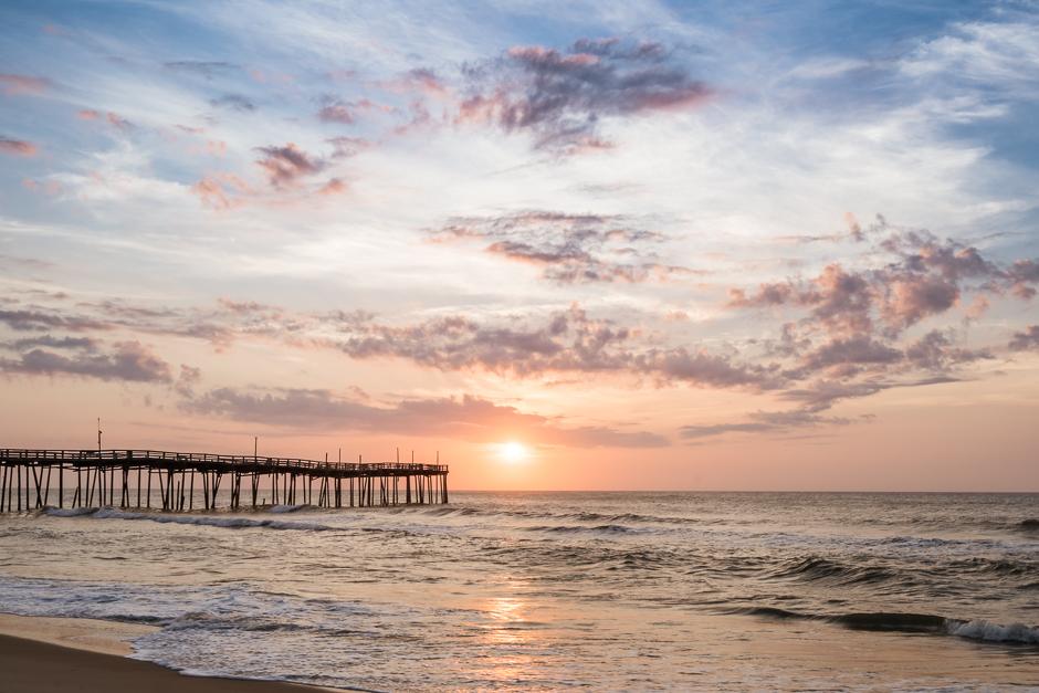 pink, blue, pastel, pretty, sunrise, avon fishing pier, hatteras island, outer banks, north carolina