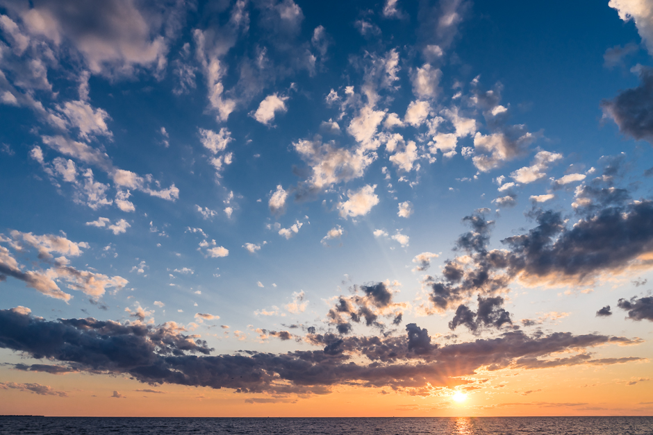 sunset, avon, buxton, hatteras, pamlico sound, cloud, colorful, orange, sky, blue