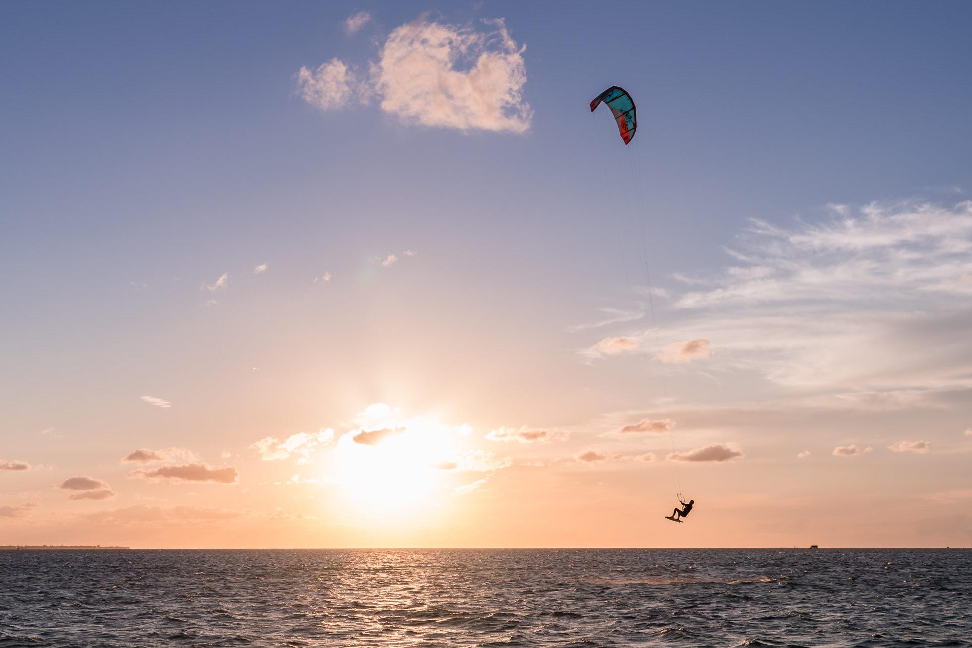 kiteboarding photography, kitesurf, cape hatteras, buxton, north carolina, sunset, kite point
