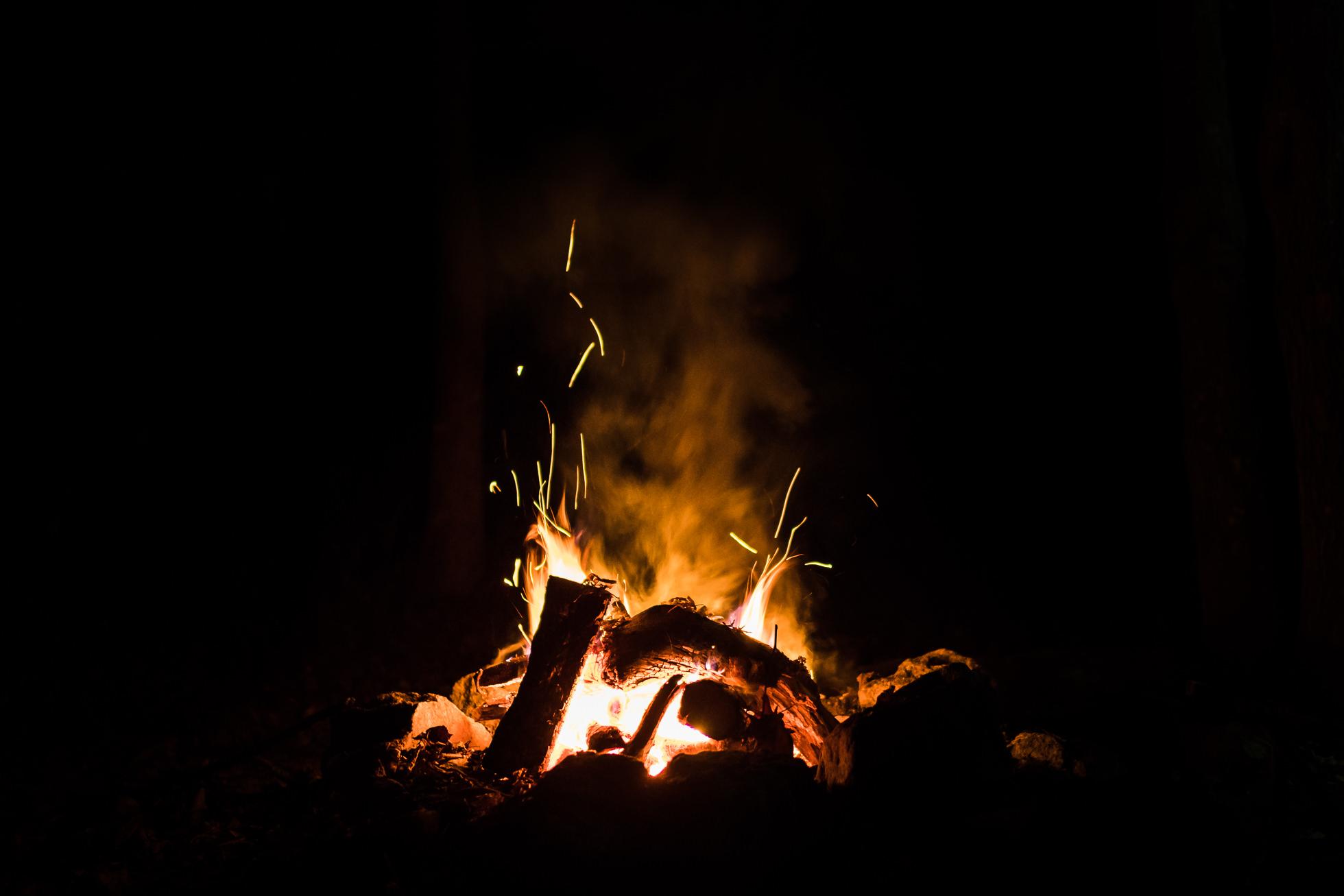 campfire, night photography