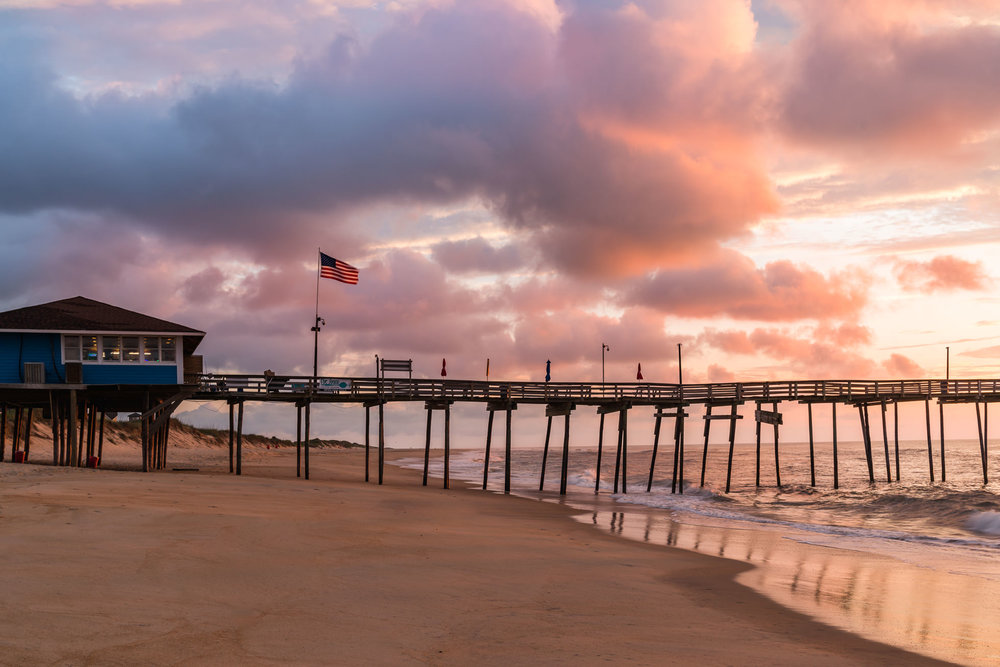 Sunrise at the avon fishing pier o outer banks north carolinaut