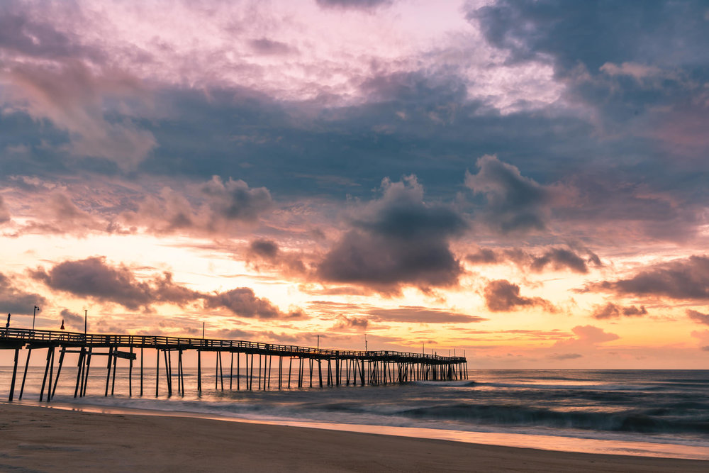 Sunrise at the avon fishing pier outer banks north carolina