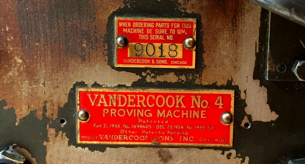 Serial number and nameplate on my press, which was originally purchased by M & M Typesetters in Chicago, IL.