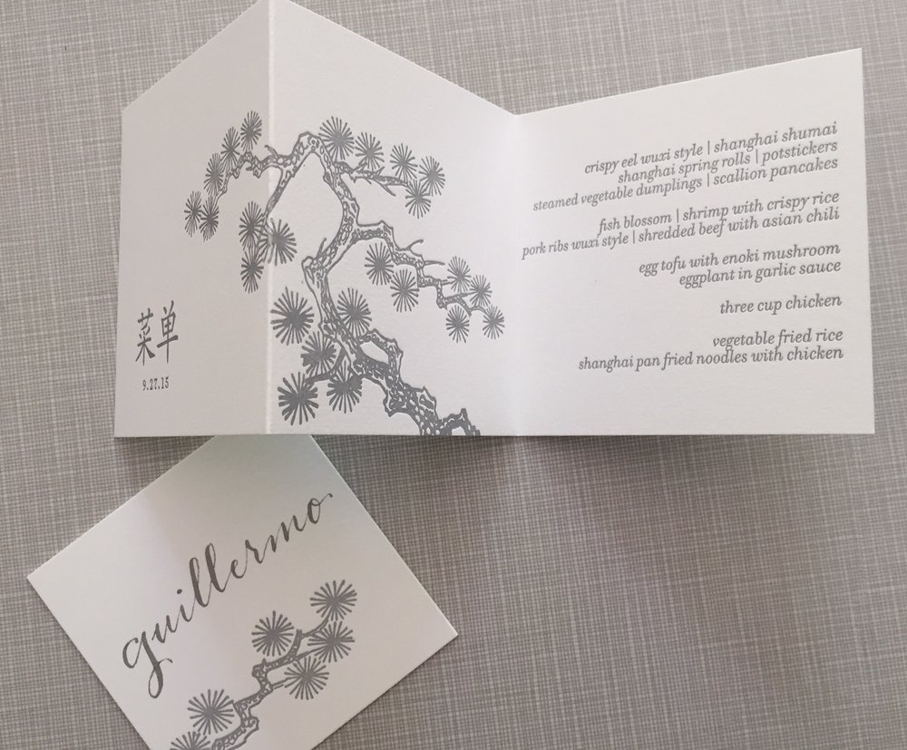 Menu and place card for Gwyneth Paltrow's birthday dinner.