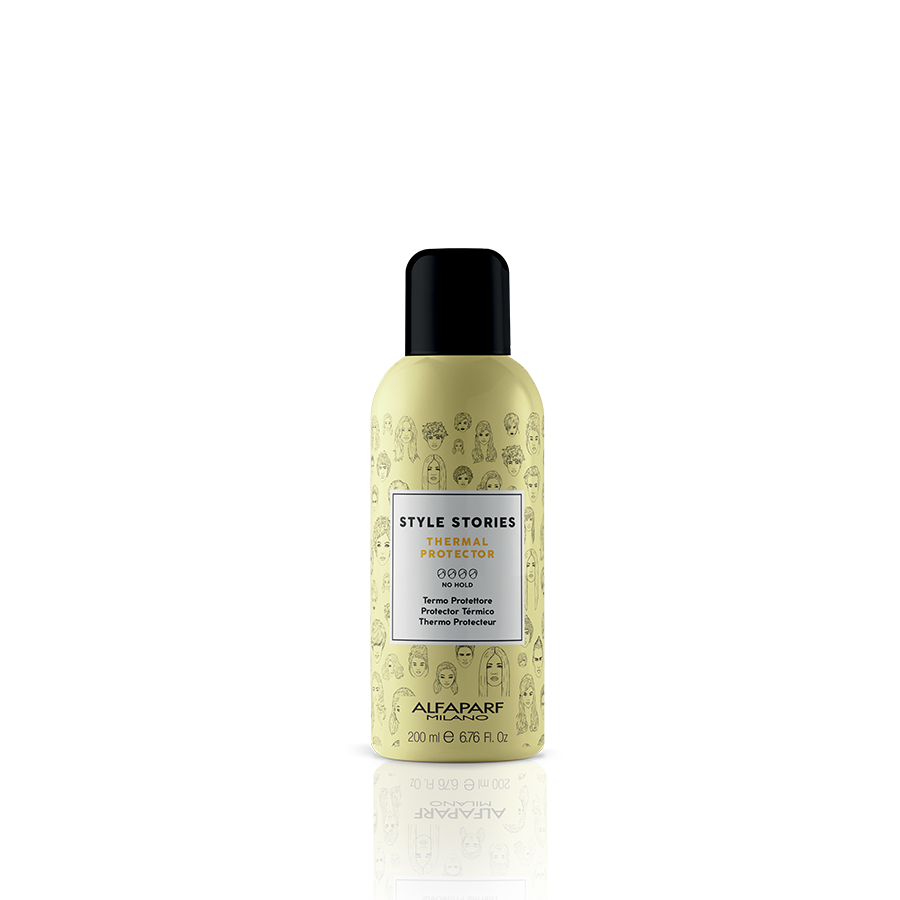 THERMAL PROTECTOR    DESCRIPTION   Thermo-active shield, protects the hair fiber from the heat of hot styling tools. Its dry spray formulation allows to avoid wetting the hair before styling with straighteners or tongs.   FORMAT   200 ml