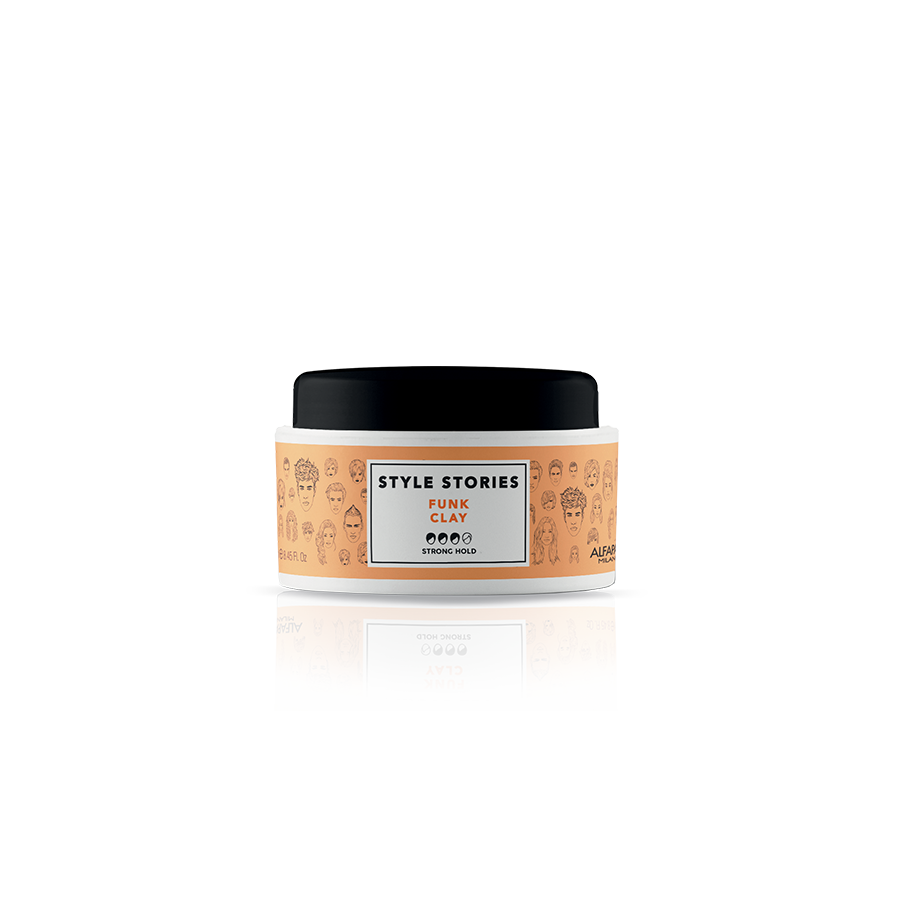 FUNK CLAY    DESCRIPTION   Clay-based styling paste, for a tousled effect. Styles, separates and defines, without feeling sticky. Matte finish.  Perfect look for 8 hours!*    FORMAT   100 ml   *96% of the initial style 8 hours after application. Instrumental tests conducted at 23° C - 73° F, in conditions of controlled humidity (50%).