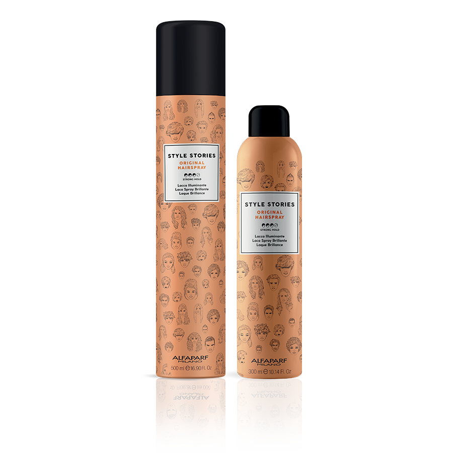 ORIGINAL HAIRSPRAY    DESCRIPTION   Hairspray which allows the hair to move freely and makes it glossy, without weighing it down.   FORMAT   500 ml and 300 ml