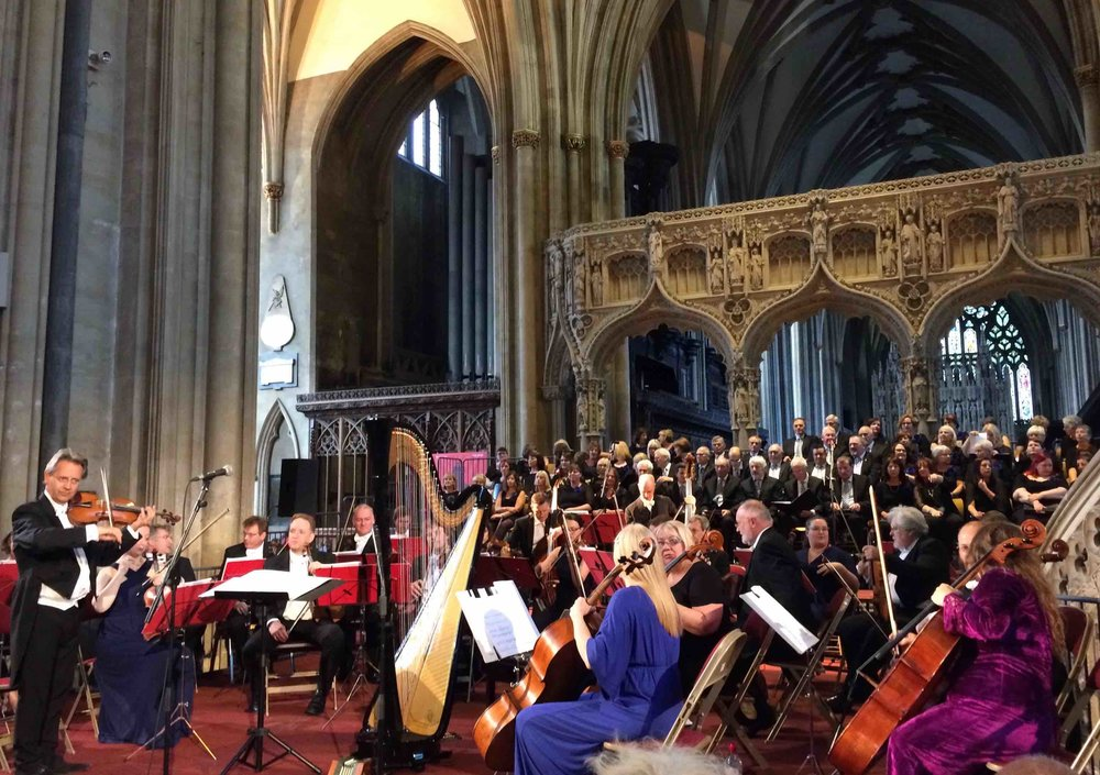 The High Sheriff of Bristol's June 2018 concert  at Bristol Cathedral. William Goodchild conducted the Bristol Ensemble (Roger Huckle, leader) and the Welsh choir, Côr y Gleision. Two of Jean's orchestrations were premiered:   Poldark Suite   (64441 strings, piano, percussion - from Anne Dudley's full orch version) and   Blaenwern   (strings, piano, chorus - an orchestration of Jeffrey Howard's arr.)