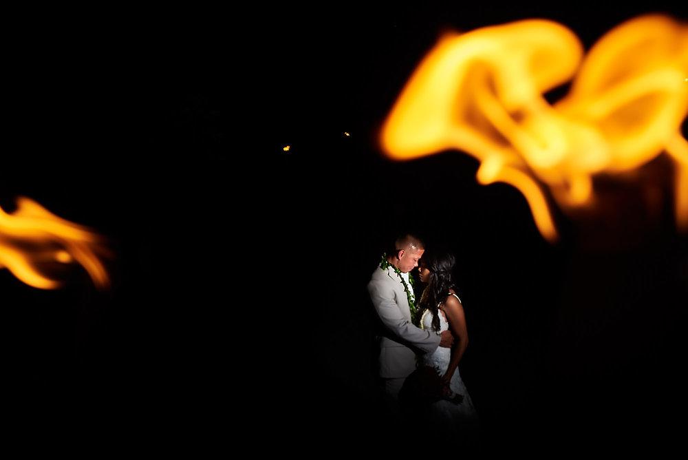 Hawaii wedding | Darnell and Ryan | couple shoot with fire