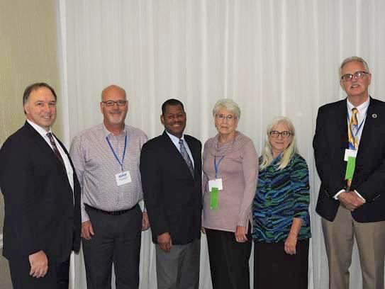 Members of the Alpha Eta Executive Council - (Left to Right) – Dr. Andrew Butler (Georgia state University), Dr. Anthony Breitbach (Saint Louis University), 2015-2018 National President Stanley Wilson (Nova Southeastern University), 2018-2021 National President Shirley Richmond (UT MD Anderson Cancer Center), Dr. Denise Schilling (Western University of Health Sciences), Dr. John Sigg (Ithaca College).